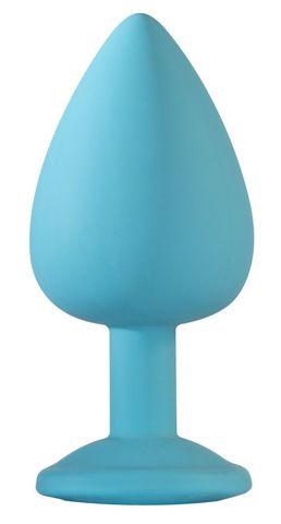 Большая голубая анальная пробка Emotions Cutie Large с фиолетовым кристаллом - 10 см.