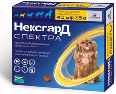 Нексгард Спектра антигельминтный для собак от 3,5 до 7,5 кг, 1 таблетка
