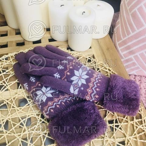 Перчатки со снежинками шерстяные (цвет: лиловый)