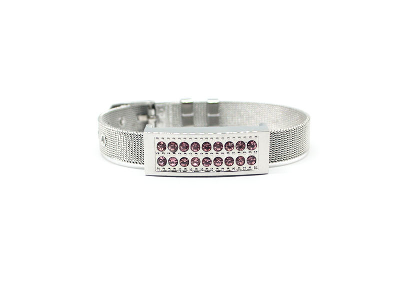 usb-флешка металлический браслет серебро с розовыми стразами