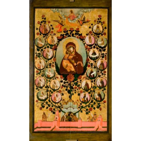 Икона Похвала Божией Матери Владимирской на дереве на левкасе мастерская Иконный Дом
