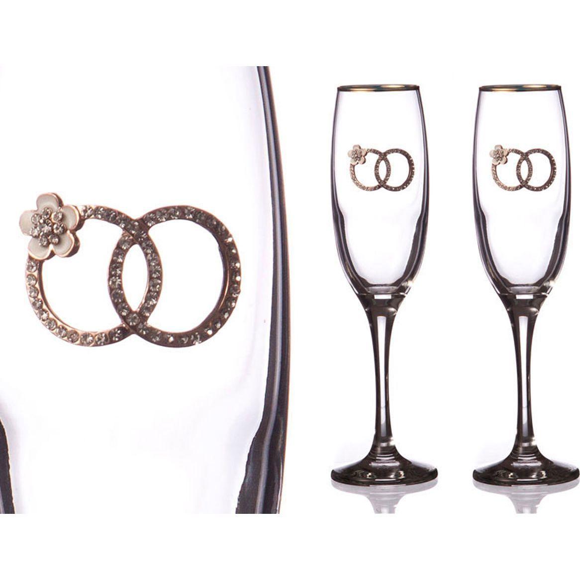 Набор бокалов для шампанского с золотой каймой, 170 мл, 2 шт.