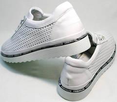 Модные женские туфли кроссовки на каждый день летние Evromoda 215.314 All White.