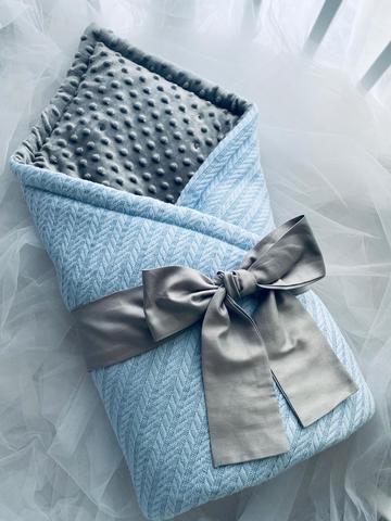 Конверт-одеяло для новорожденных вязка цвет голубой/графит