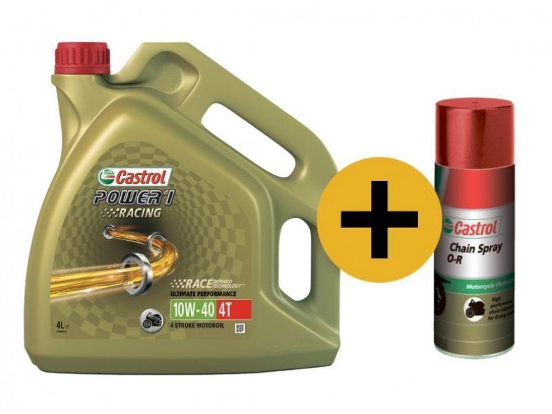 Castrol Power Racing 10w-40 4T (Промо-набор) - Синтетическое мотоциклетное масло + смазка