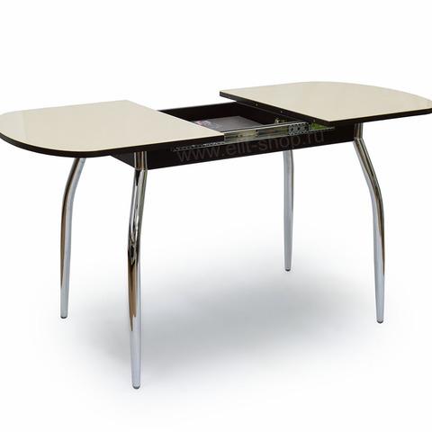 Стол ПОРТОФИНО-1 Бежевый / рис. 0 / подстолье венге / опора №1 хром / 110(160)х70см