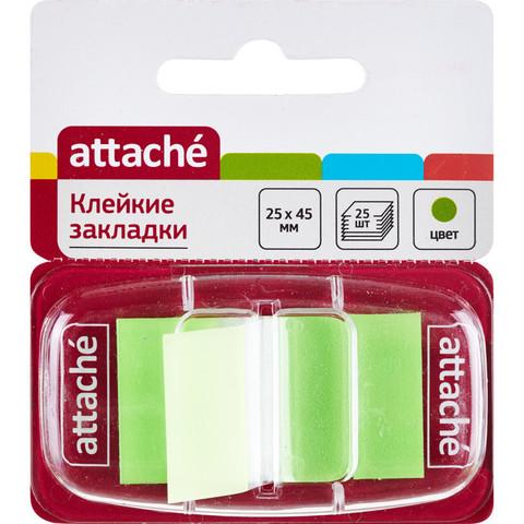 Клейкие закладки пласт. 1цв.по 25л. 25ммх45 зелен Attache