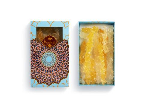 Сахар леденцовый развесной в подарочной упаковке  / белый/ шафран, 170 гр.