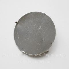 Основа для броши с площадкой и лапками для крепления, 35 мм (цвет - никель)