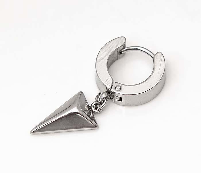 ER454-1 Стальные серьги кольца с подвеской «Копье» фото 03