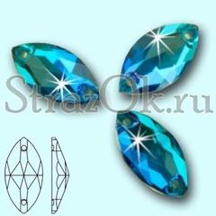 Стразы пришивные стеклянные Navette Blue Zircon, Лодочка Блю Циркон сине-зеленый на StrazOK.ru