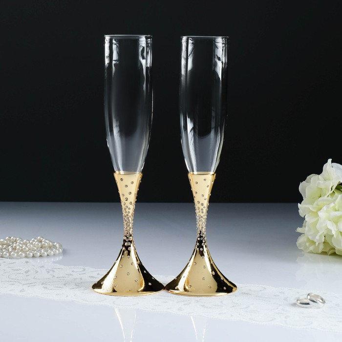 Набор свадебных бокалов с хрусталиками сваровски, золото, 27,4 см от 4 900 руб