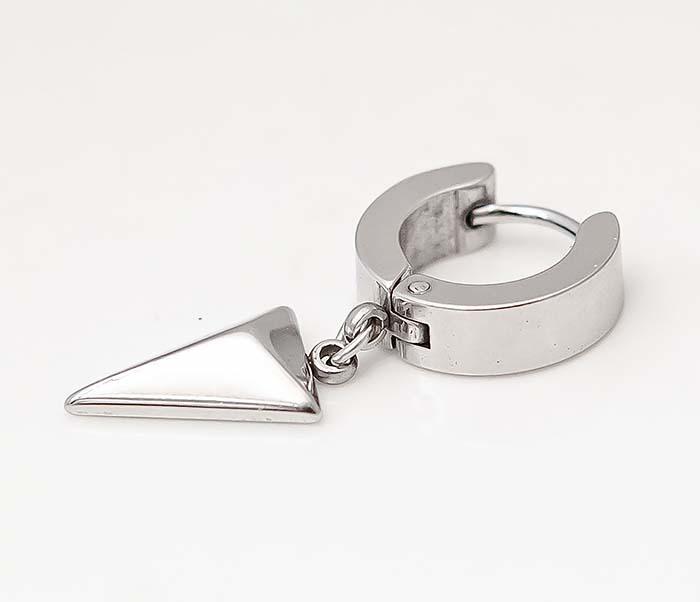 ER454-1 Стальные серьги кольца с подвеской «Копье» фото 04