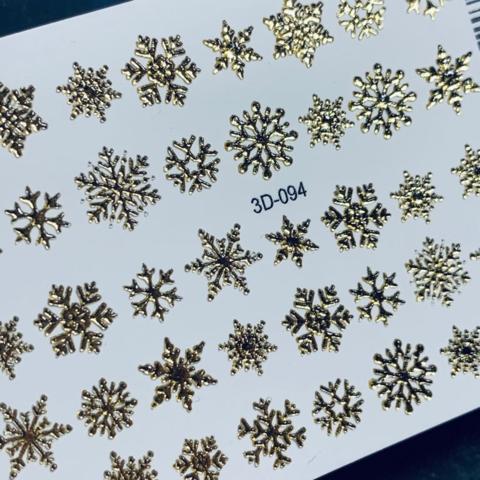 3D слайдер для ногтей снежинки  микс, 3D-094