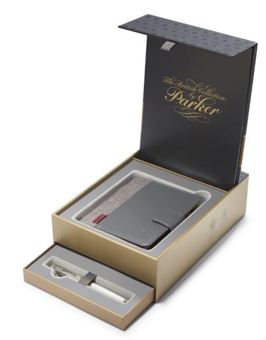 *Подарочный набор: Записная книжка и Перьевая ручка Parker Sonnet`11 Pearl CT T540, цвет: жемчужный/металлический123
