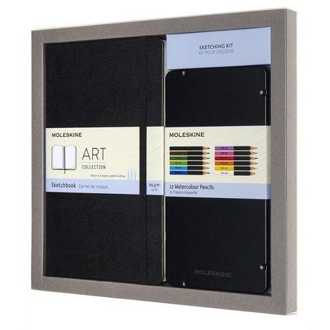 Набор Moleskine Art Collection Sketching блокнот для рисования/акварельные карандаши Large нелинованный черный