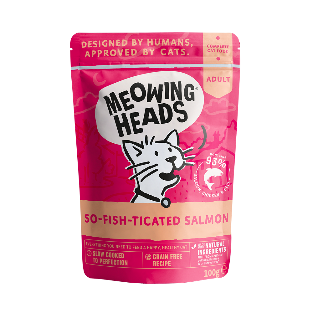 Meowing Heads консервы для кошек с лососем курицей и говядиной Фиш-гурман (So-fish-ticated Salmon)