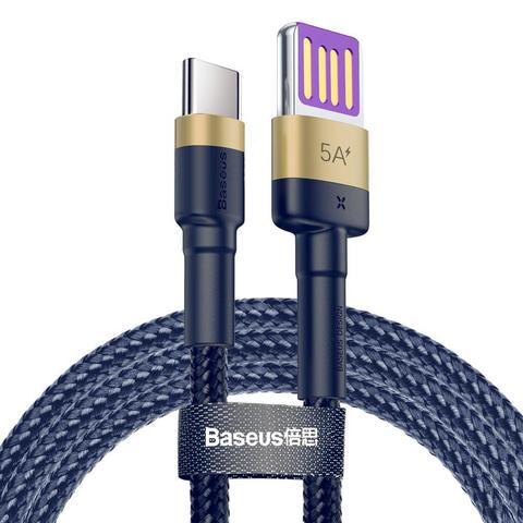 Кабель Baseus Cafule HW Quick Charging Data cable USB Double-sided Blind Interpolation For Type-C 40W 1m Gold blue