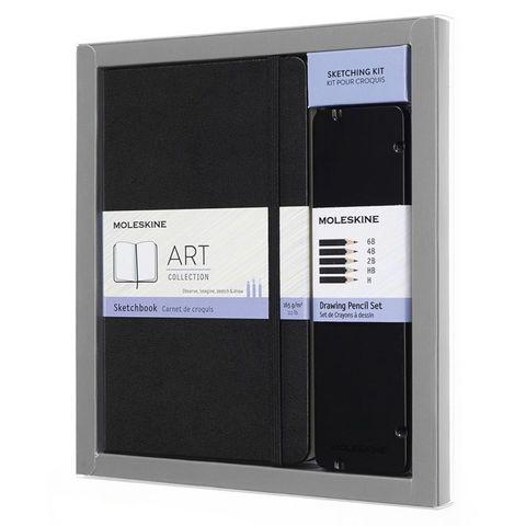 Набор Moleskine Art Collection пенал с черногр.карандашами/блокнот Large нелинованный черный