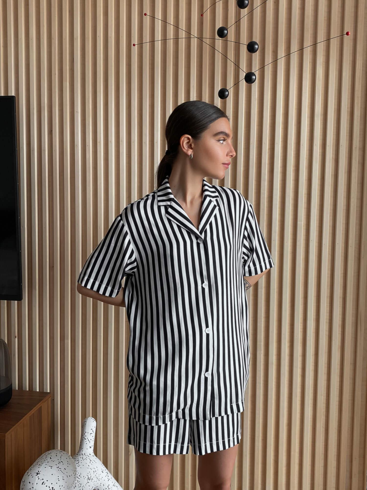 Рубашка в полоску Lexi в пижамном стиле фото