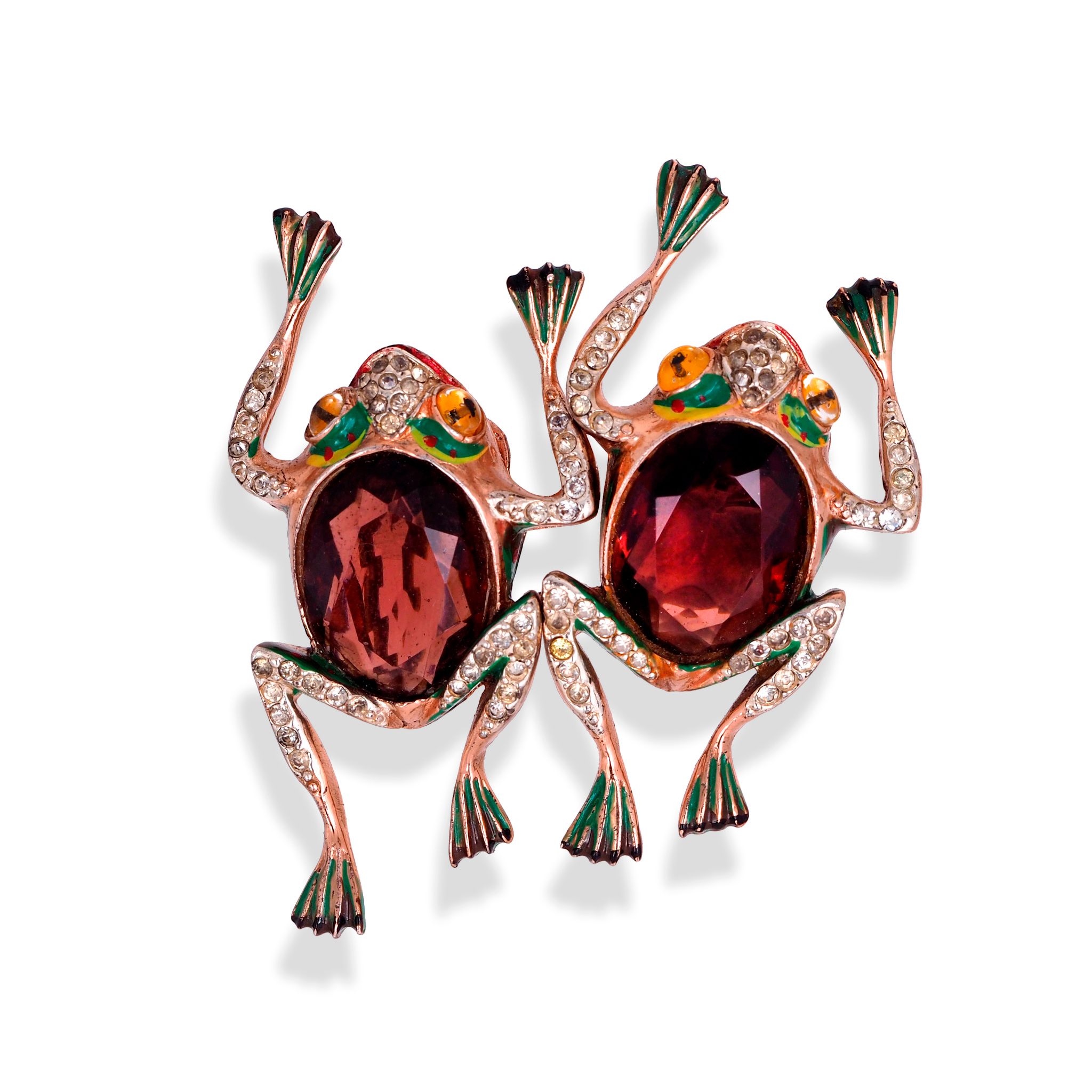 Frogs, rare collectible silver brooch by Coro