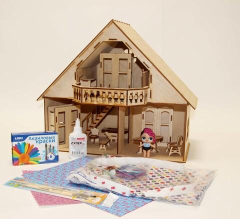 Кукольный домик из фанеры с мансардой и балконом с полным набором мебели