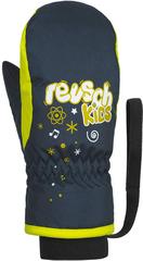 Варежки детские Reusch Kids Mitten 955 dress blue/safety yellow
