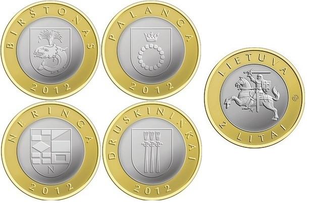 """Набор из 4 монет 2 лита """"Курорты Литвы"""" 2012 год"""