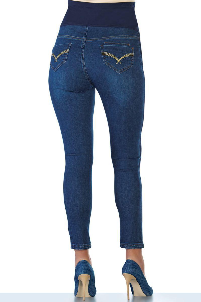 Фото джинсы для беременных EBRU, зауженные, регулируемая трикотажная вставка от магазина СкороМама, темно-синий, размеры.
