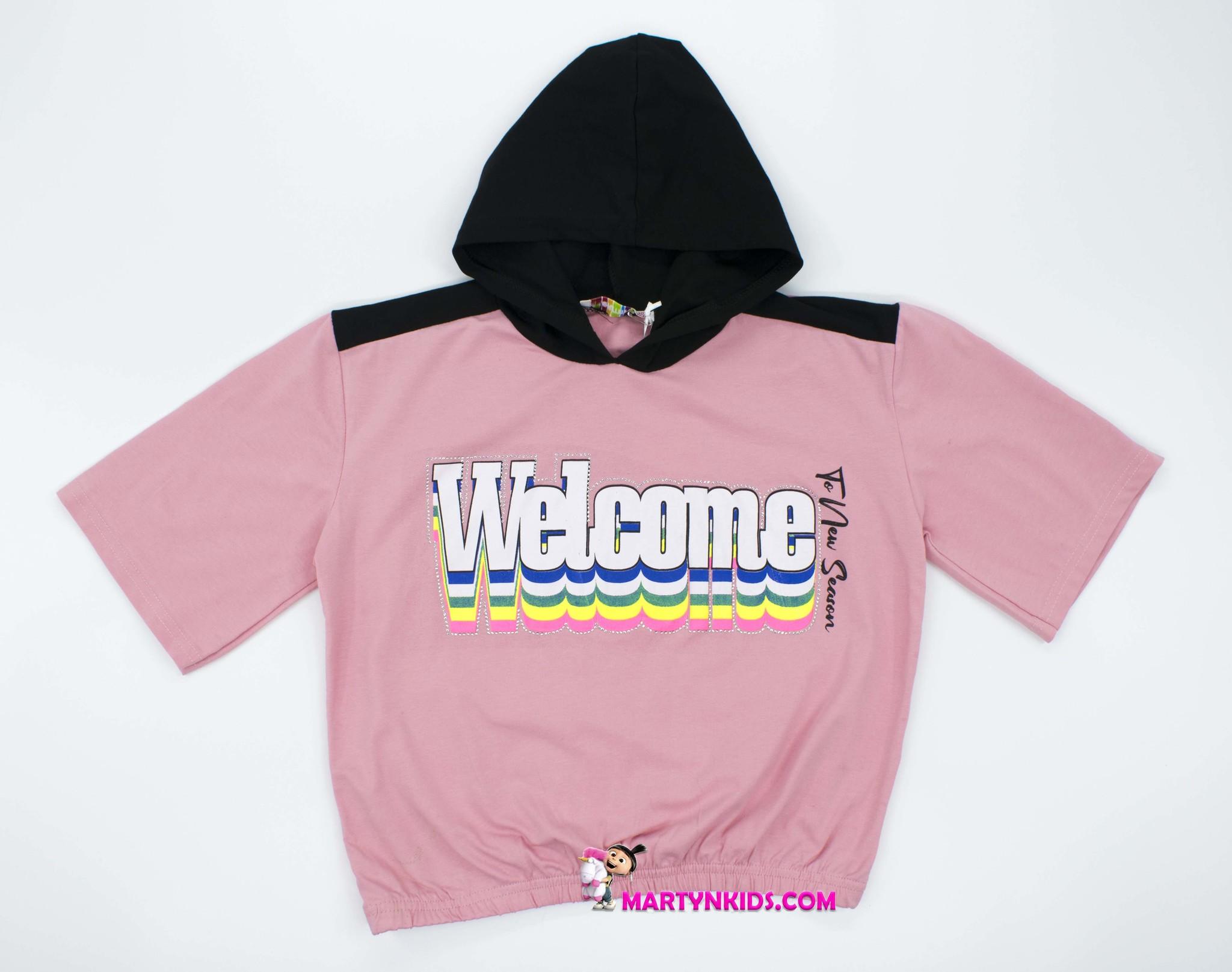 2409 футболка  Welcome короткий рукав капюшон