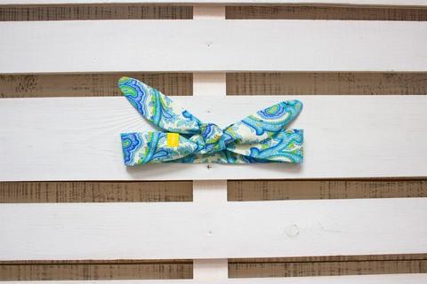 Повязка на голову (солоха) белая с зеленым и голубым пейсли