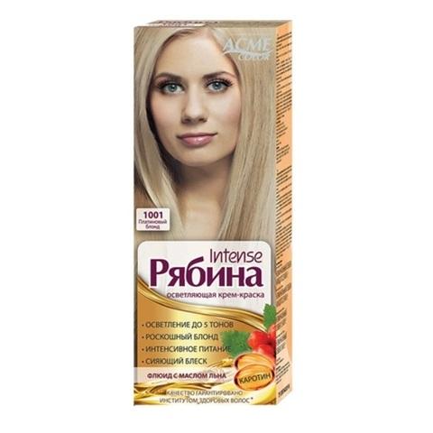Рябина Intense Крем-краска для волос тон №1001 платиновый блонд