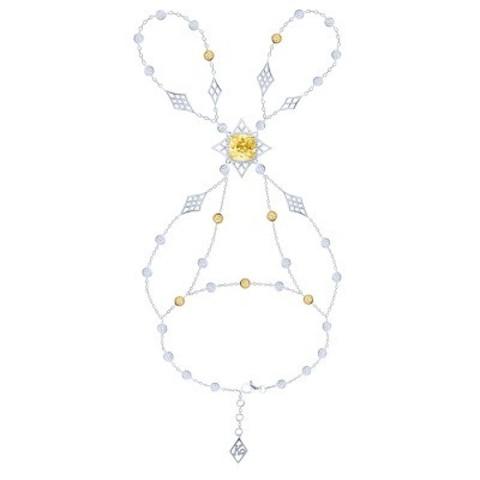 Слейв-браслет из серебра с желтыми цирконами в стиле KoJewelry 4748