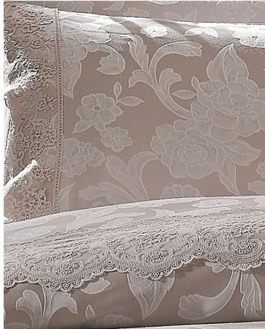 Постельное белье AMELFI бежевый жаккард с кружевом deluxe TIVOLYO HOME Турция