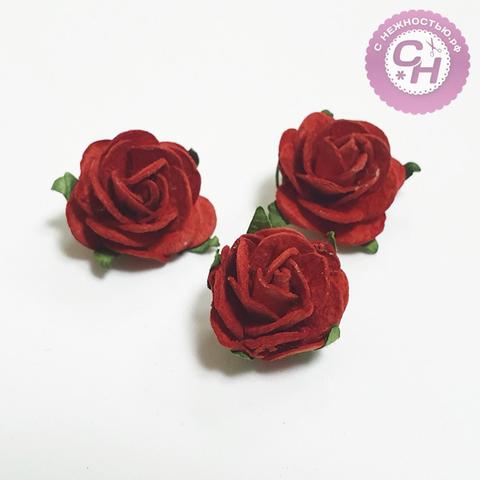 Роза из бумаги на проволоке, 2,5 см, 1 шт.