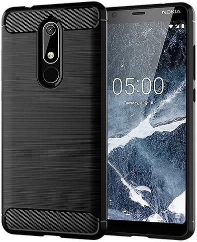 Чехол Nokia 5.1 цвет Black (черный), серия Carbon, Caseport