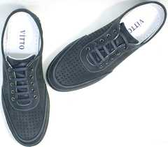 Мужские туфли кроссовки для повседневной ходьбы Vitto Men Shoes 3560 Navy Blue.