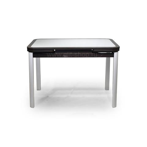 Стол РИАЛ КОЖА Е-20 белый / стекло коричневое / подстолье коричневое / опора №7 белая / 110(170)х74см