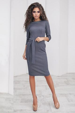 Трикотажное платье футляр с принтом, светло-синее 3