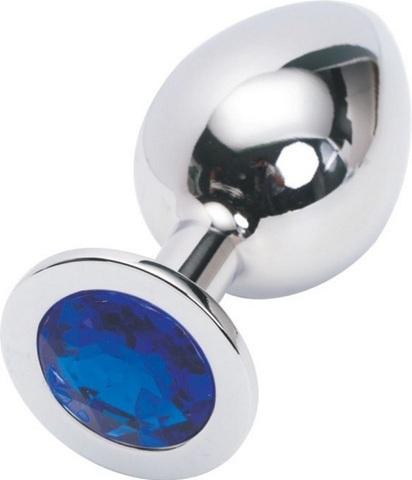 Анальная пробка серебро со вставкой синий страз 9,5х4см L 47018-2-MM