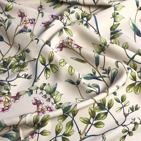 крепдешин пудровый с мелкими цветами