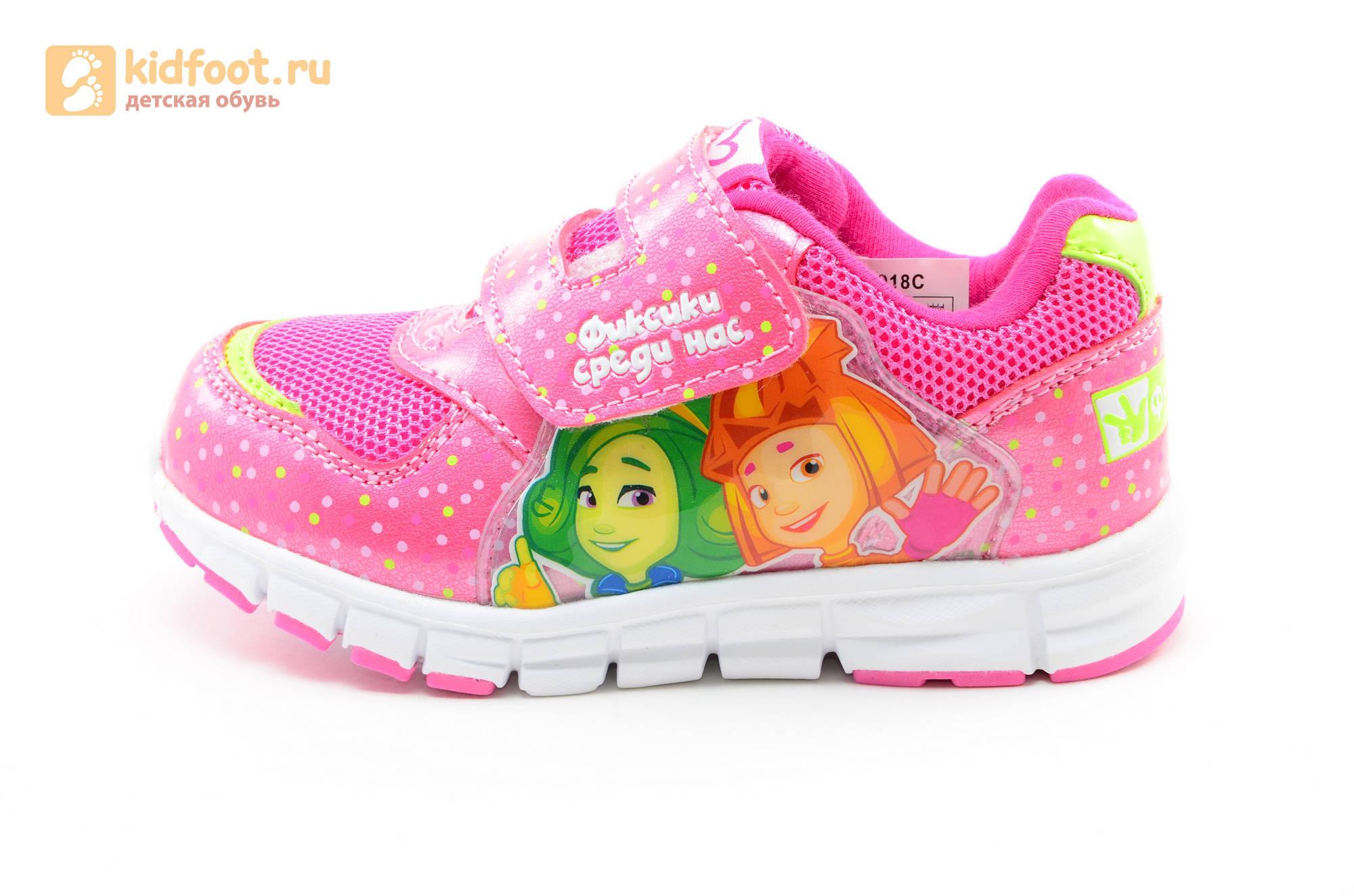 Светящиеся кроссовки для девочек Фиксики на липучках, цвет фуксия, мигает картинка сбоку
