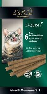 Лакомство для кошек Edel Cat Колбаски с мясом зайца и печенью купить с доставкой в интернет-магазине зоогастроном.ру