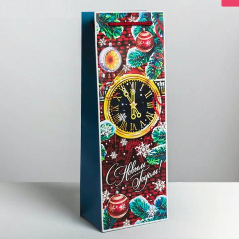 Пакет под бутылку Куранты Часы классика нового года 13 × 36 × 10 см
