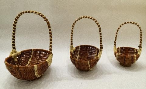 Набор плетёных корзин 3 шт. (лоза), 23х17хH30 см, цвет: коричневый