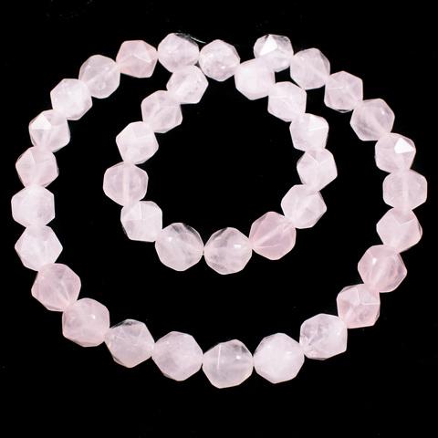 Кварц розовый бусины крупная грань 10 мм