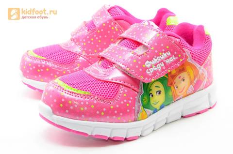 Светящиеся кроссовки для девочек Фиксики на липучках, цвет фуксия, мигает картинка сбоку. Изображение 6 из 15.