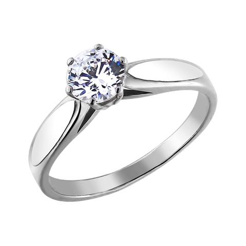 94010047-Помолвочное кольцо из родированного серебра