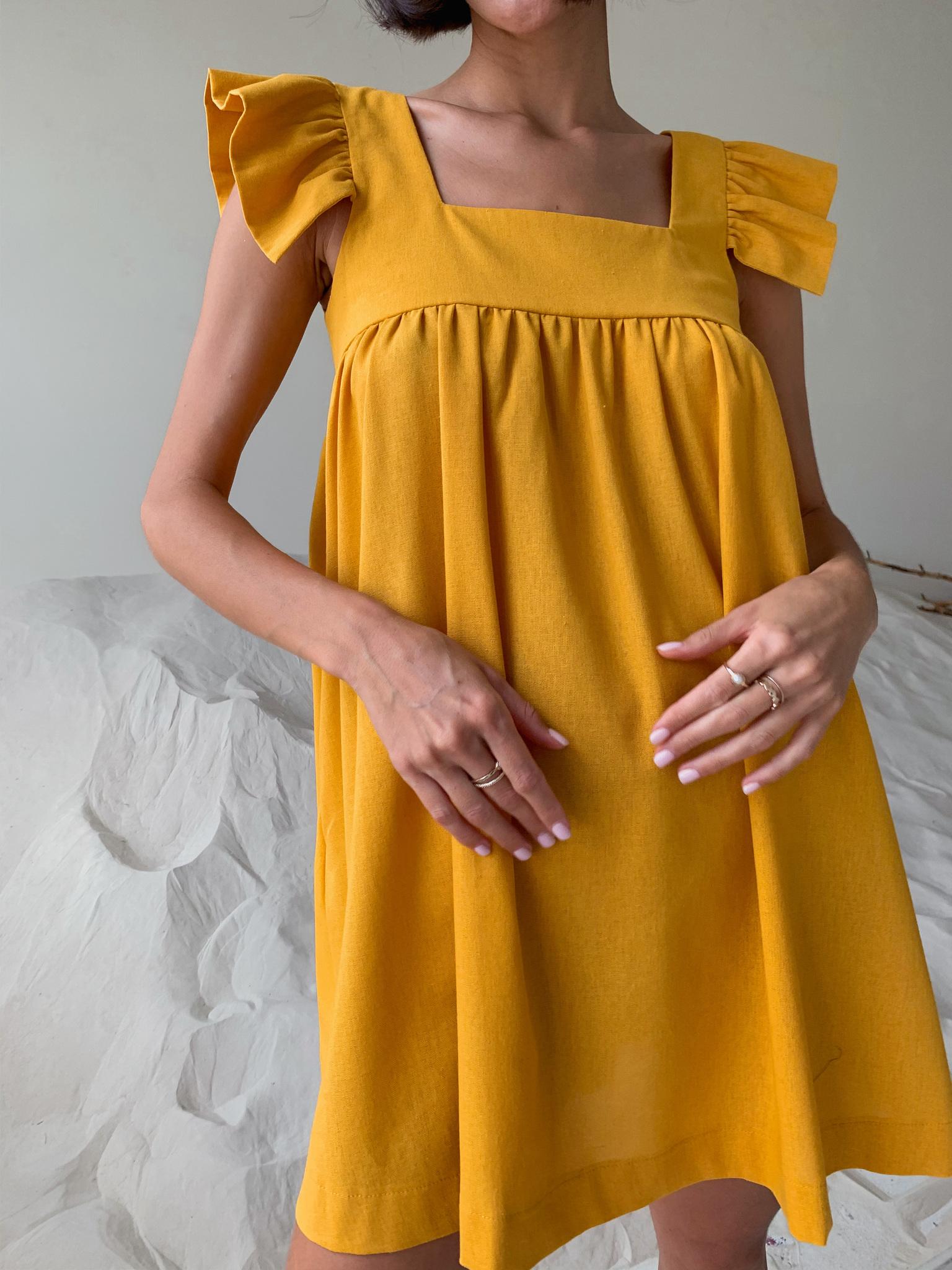 Платье льняное свободного кроя (желто-оранжевый)