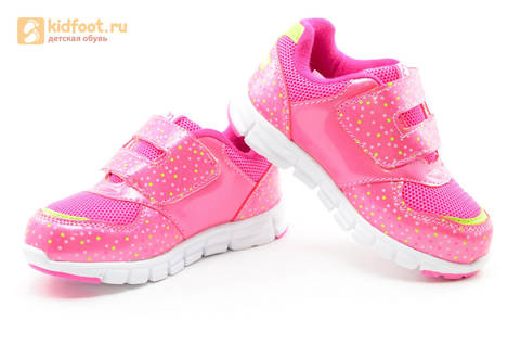 Светящиеся кроссовки для девочек Фиксики на липучках, цвет фуксия, мигает картинка сбоку. Изображение 8 из 15.